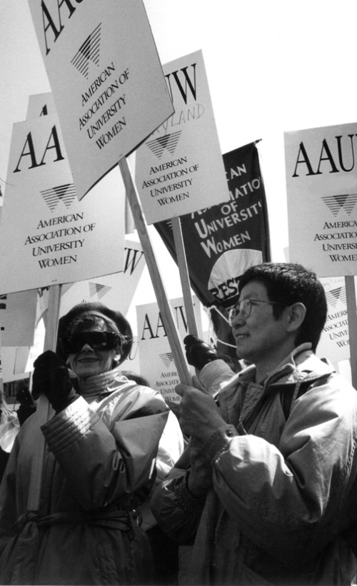 AAUW Supporters with signs