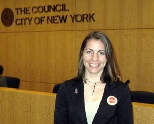 Holly Kearl at the New York City Council hearing on street harrassment