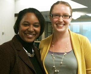Sen. Lena Taylor (left) and Emily Krueger