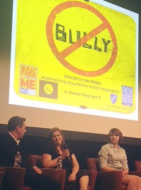 Film director Lee Hirsch (left) discusses Bully with Jackie Libby (center) who, along with her son, was featured in the documentary. Katy Butler (right) wrote an online petition to change the movie's rating from R to PG-13.