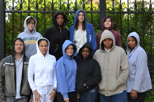 AAUW staff members wear hoodies to protest stereotypes on National Hoodie Day.
