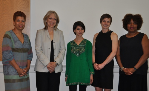The 2012 Women of Distinction Award Recipients (left to right): Michel Martin, Liza Donnelly, Noorjahan Akbar, Alison Cohen, and Maggie Williams.