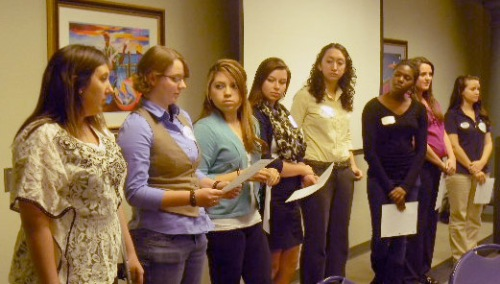 University of North Carolina, Wilmington, students share their elevator speeches during their Elect Her training.