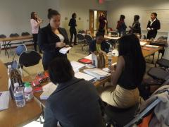 Elect Her—Howard Women Win attendees strategize how to get the most votes for the campaign simulation exercise.