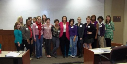 State Senator Karen Carter Peterson poses with the attendees of Elect Her — LSU Women Win.