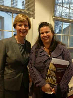 AAUW Government Relations Associate Director Erin Prangley with Sen. Tammy Baldwin (D-WI)