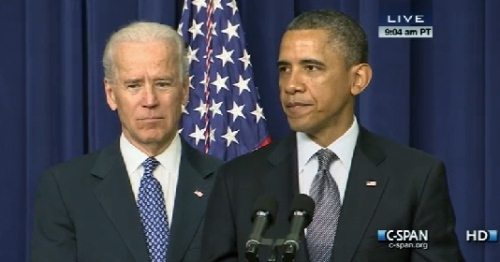 President Obama and Joe Biden at the accouncement; photo by CSPAN