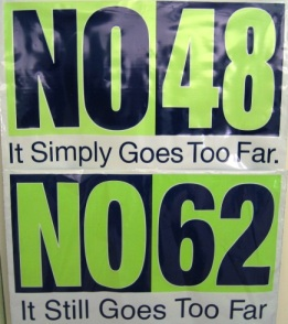 """Vote No"" yard sign from Amy Blackwell's own yard"